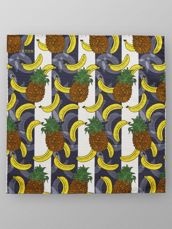 Banana & Pineapple Print Pocket Square