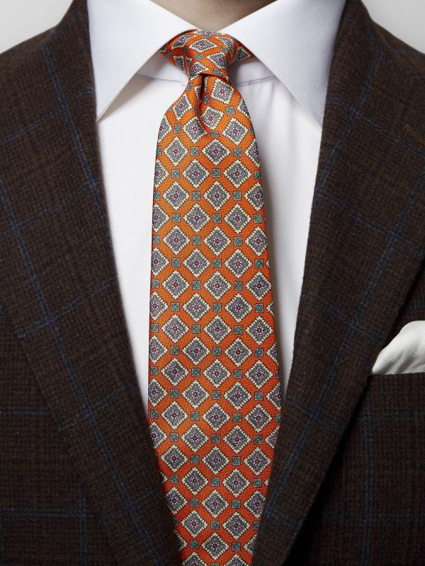 Orange Medallion Print Silk Tie