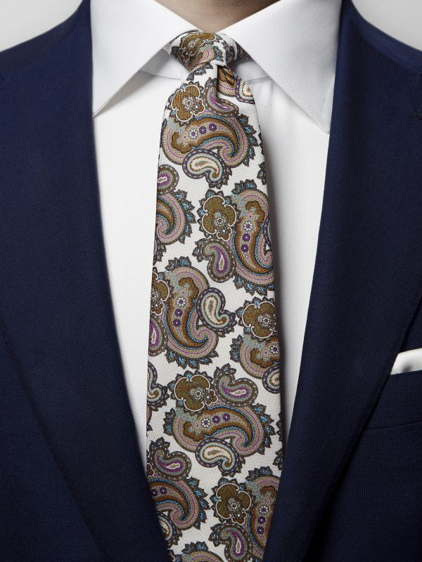 Off White Paisley Print Silk Tie