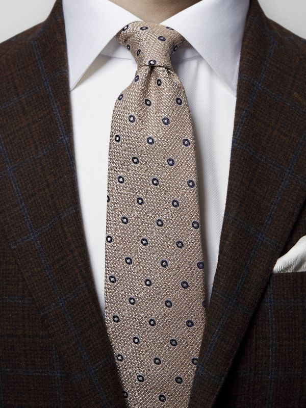 Brown Dots Raw Silk Tie