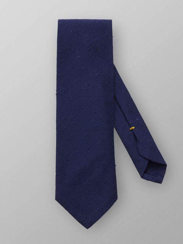 Navy White Shantung Cotton & Silk Tie
