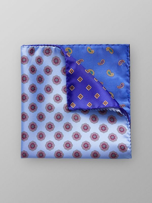 Multi Pattern Print Silk Pocket Square