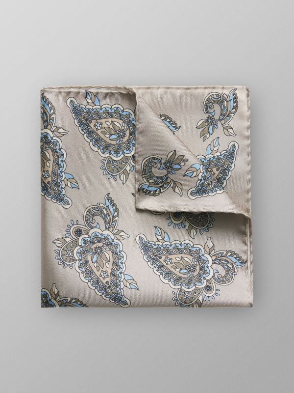 Off White Paisley Silk Pocket Square