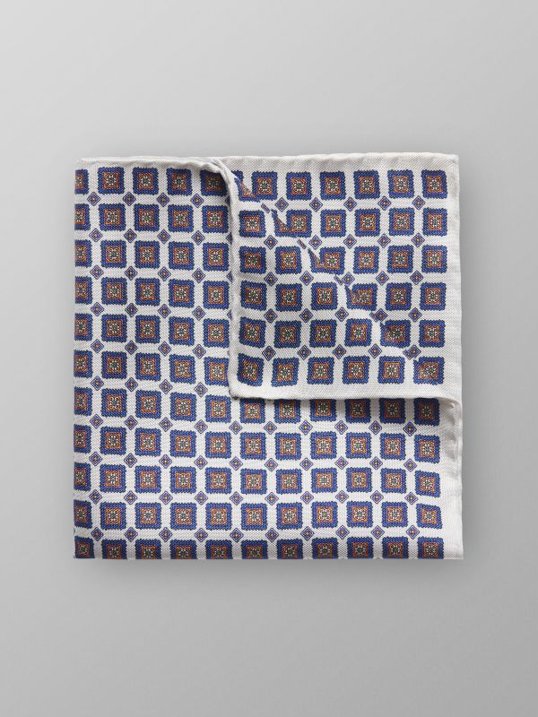Navy Medallion Silk Pocket Square