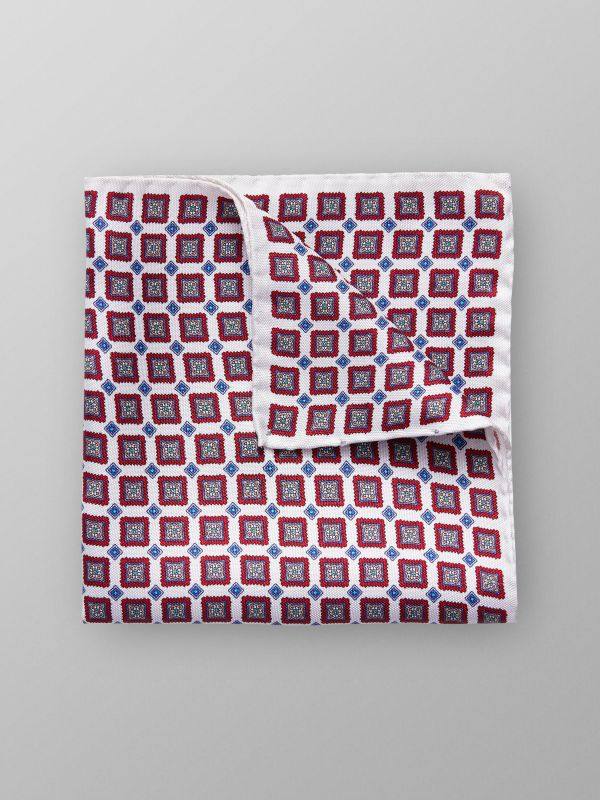 Red Medallion Silk Pocket Square