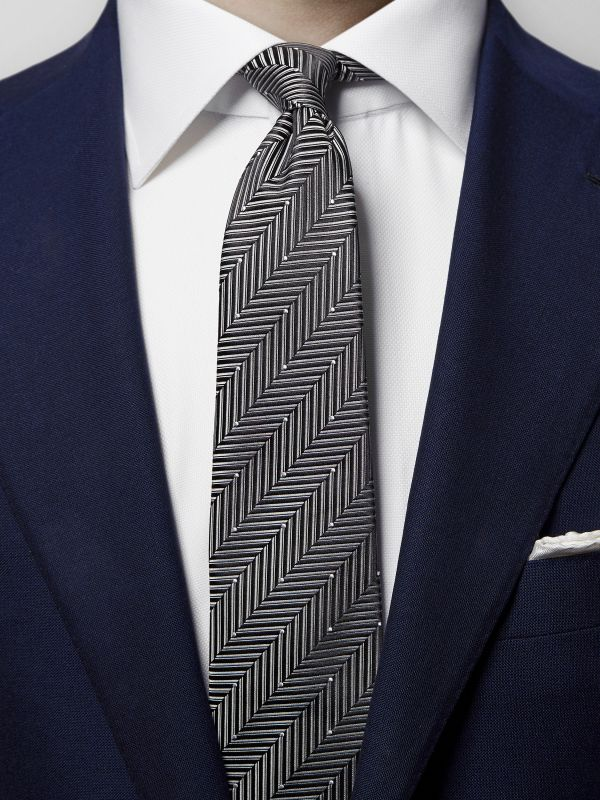 Grey Herringbone Pin-Dots Silk Tie