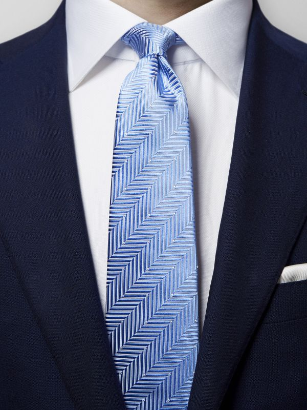 Blue Herringbone Pin-Dots Silk Tie