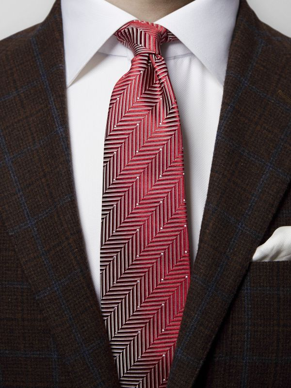 Red Herringbone Pin-Dots Silk Tie