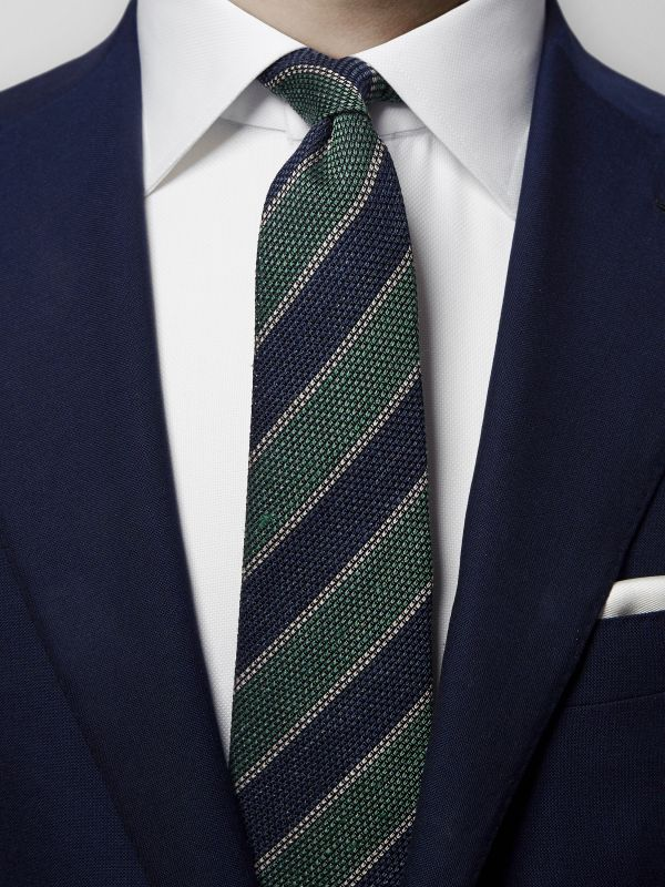 Navy & Green Striped Grenadine Tie