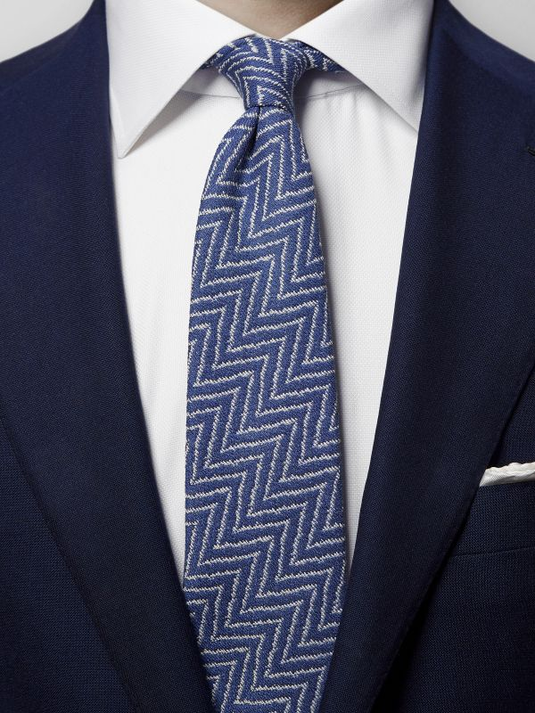 Blue Zick Zack Cotton & Silk Tie