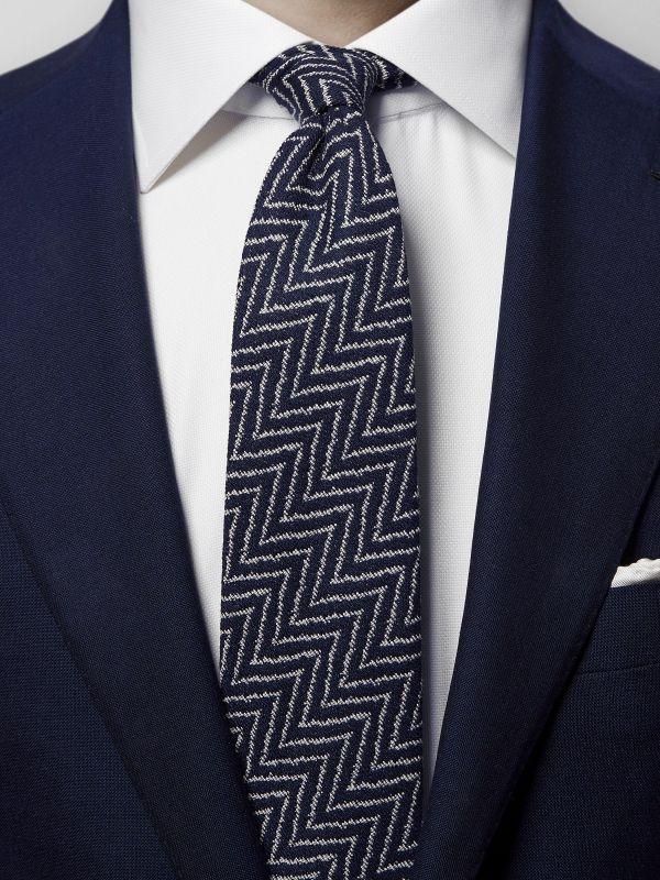 Navy Zick Zack Cotton & Silk Tie