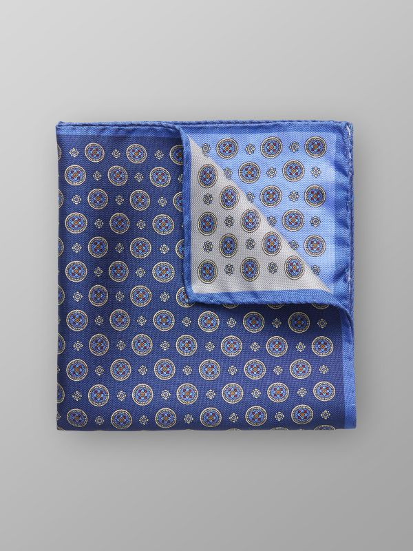 Blue Four Square Silk Pocket Square