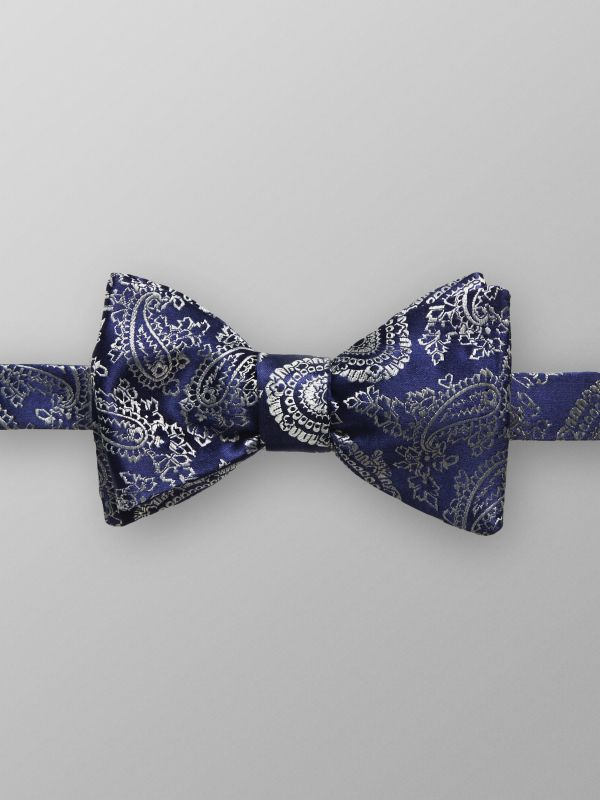 Navy Paisley Silk Bow Tie - Ready Tied