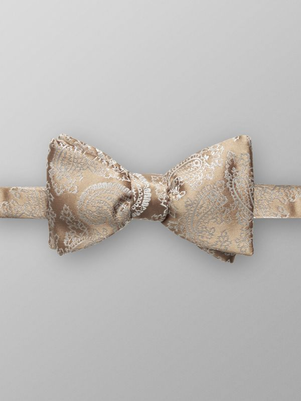 Beige Paisley Silk Bow Tie - Ready Tied