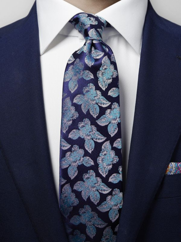 Blue Floral Woven Silk Tie