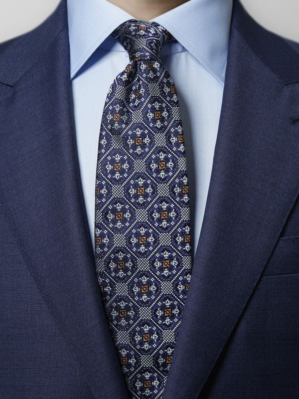 Navy Geometric Medallion Silk Tie