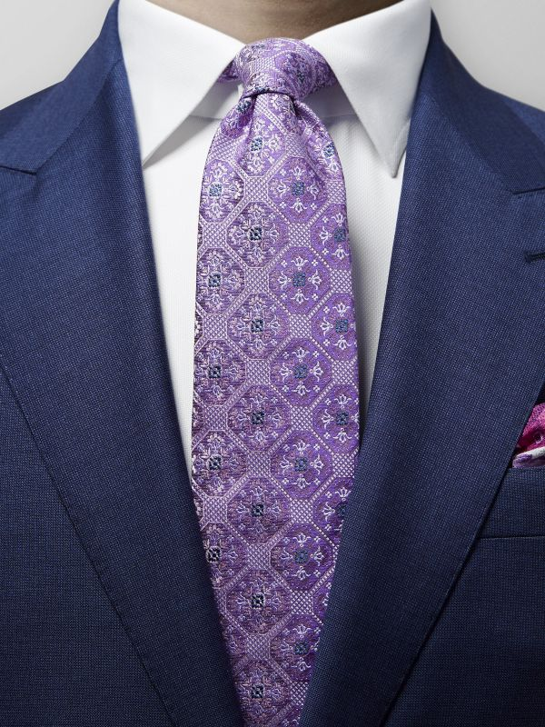 Purple Geometric Medallion Silk Tie