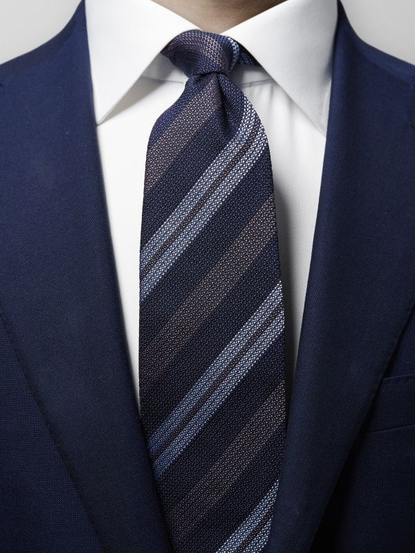 Blue & Grey Striped Tie