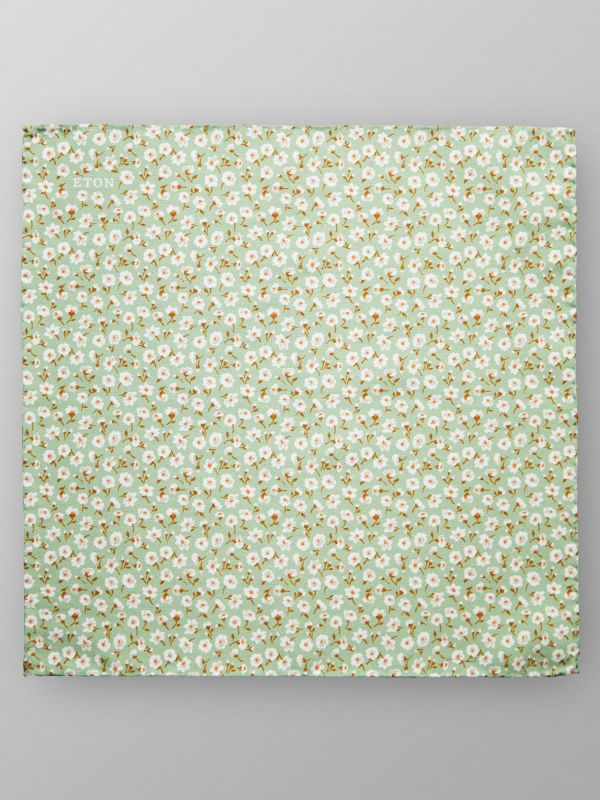 Green Floral Print Pocket Square