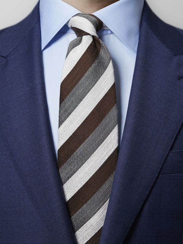 Brown & Grey Striped Tie