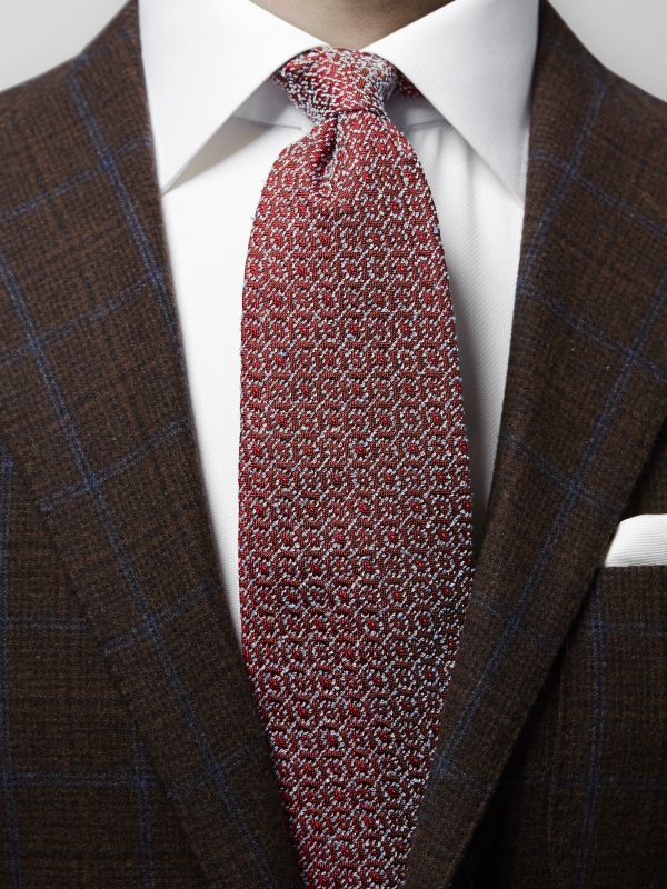 Red Medallion Woven Tie