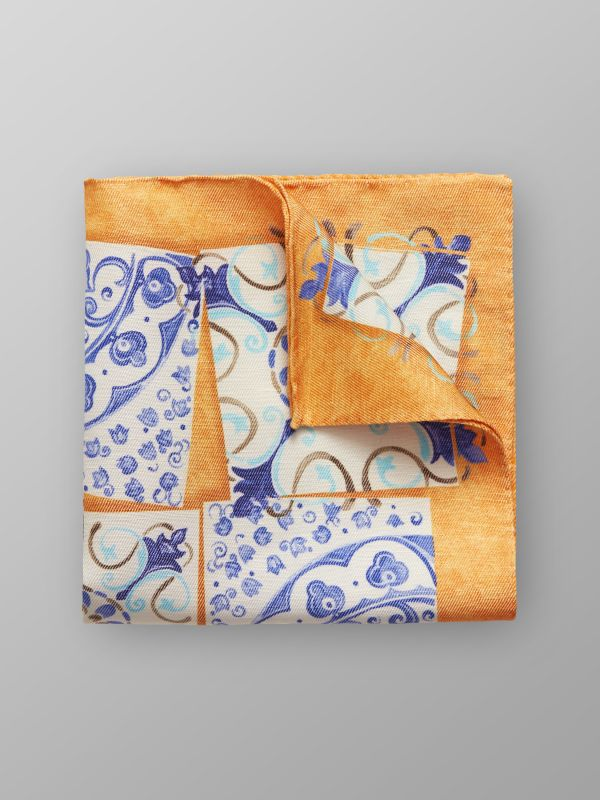 Orange & Blue Tile Print Pocket Square