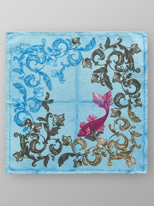 Turquoise Fish Print Pocket Square
