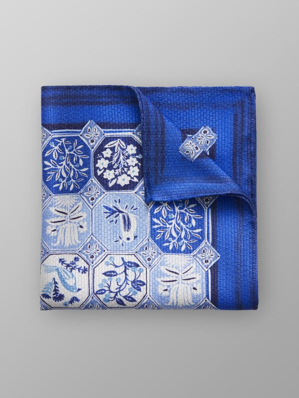 Blue Print Silk Pocket Square