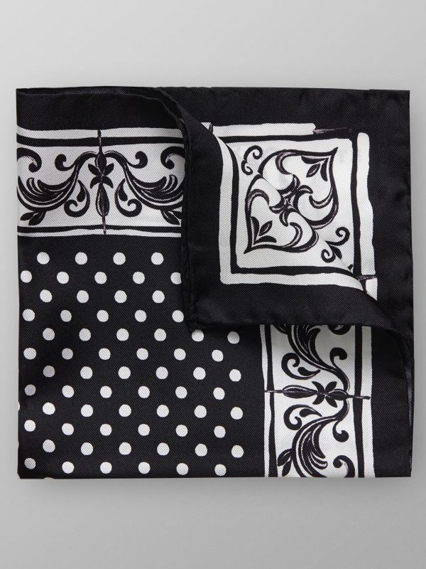 Black & White Floral & Dots Pocket Square