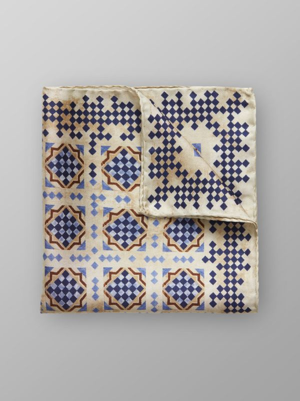 Blue & Beige Tile Print Silk Pocket Square