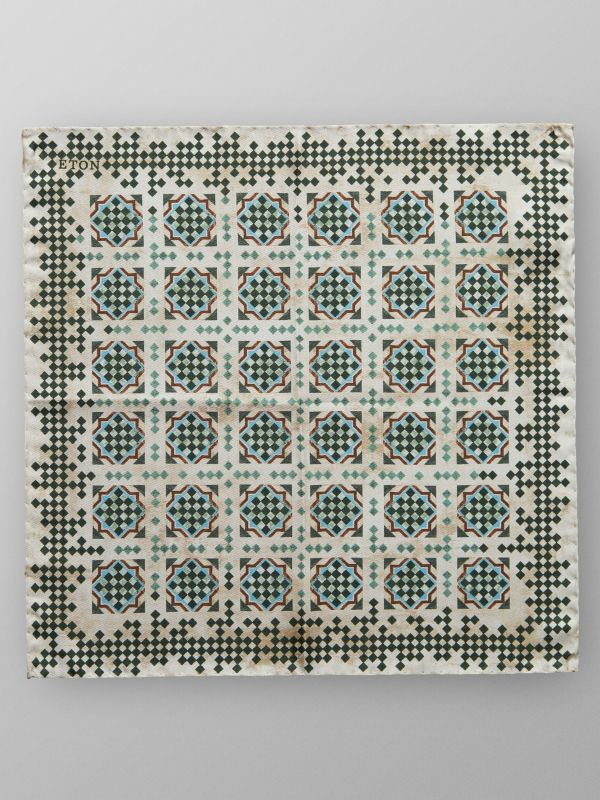 Green & beige Tile Print Silk Pocket Square