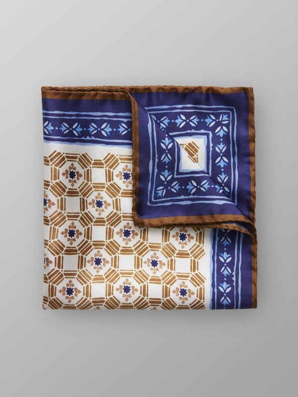 Brown Tile Print Silk Pocket Square
