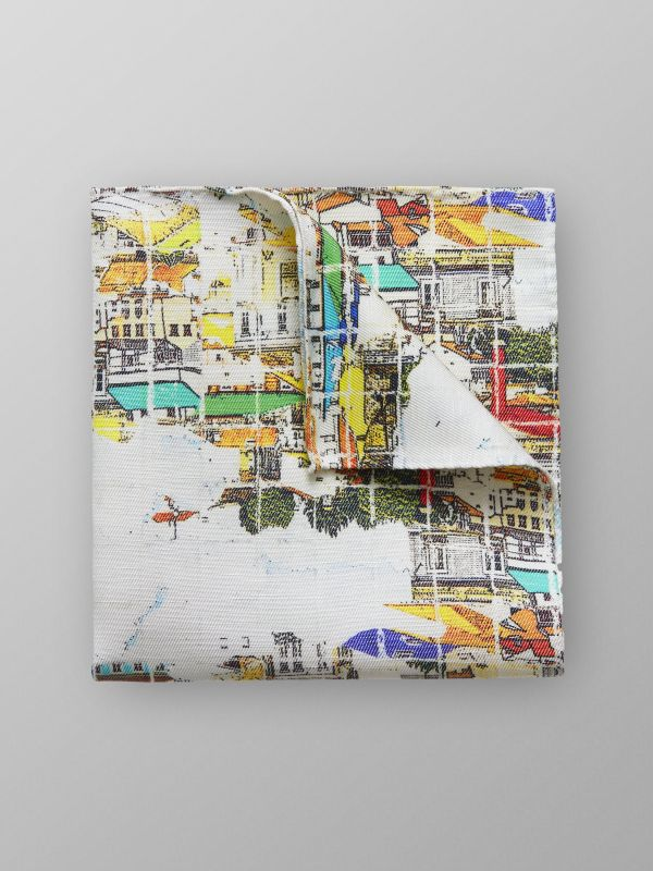 Lisbon SkyLine Print Pocket Square
