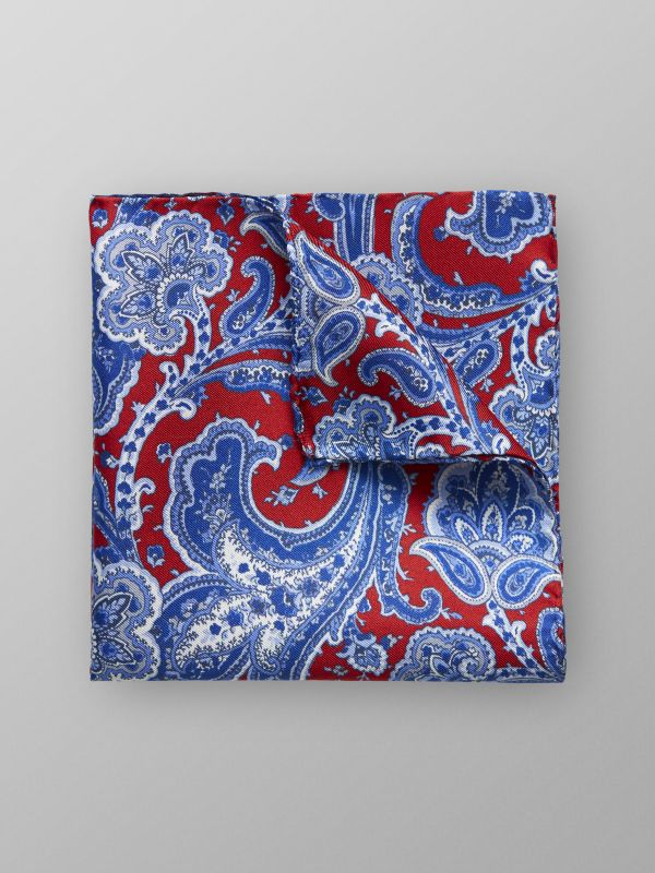 Red Paisley Print Pocket Square
