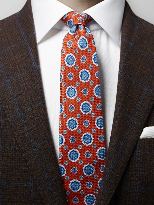 Red Medallion Print Weave Tie