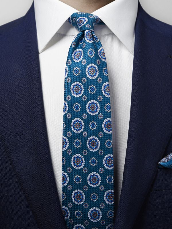 Green & Blue Medallion Print Weave Tie