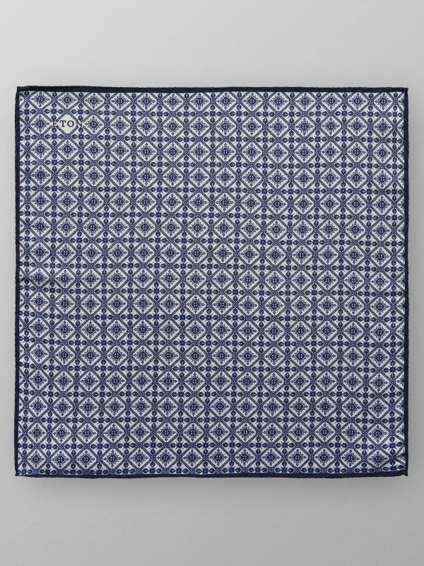 Blue Geometric Print Pocket Square