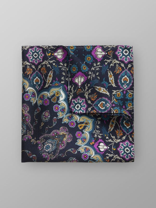 Navy Paisley Print Silk Pocket Square
