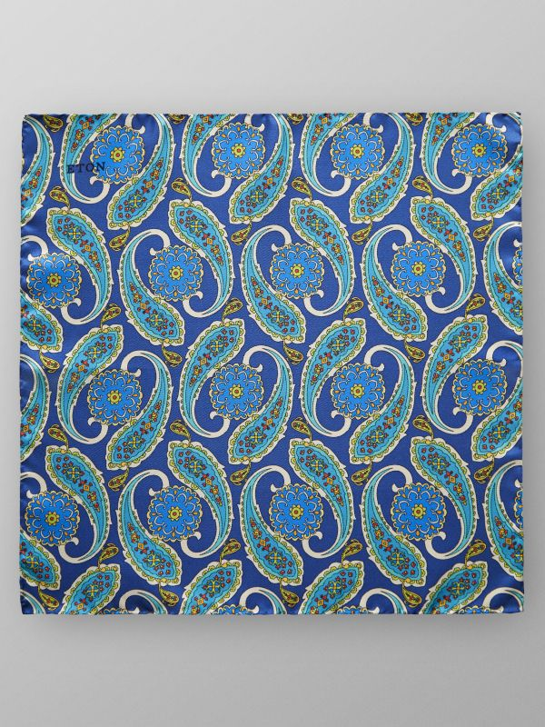 Blue Paisley Print Pocket Square