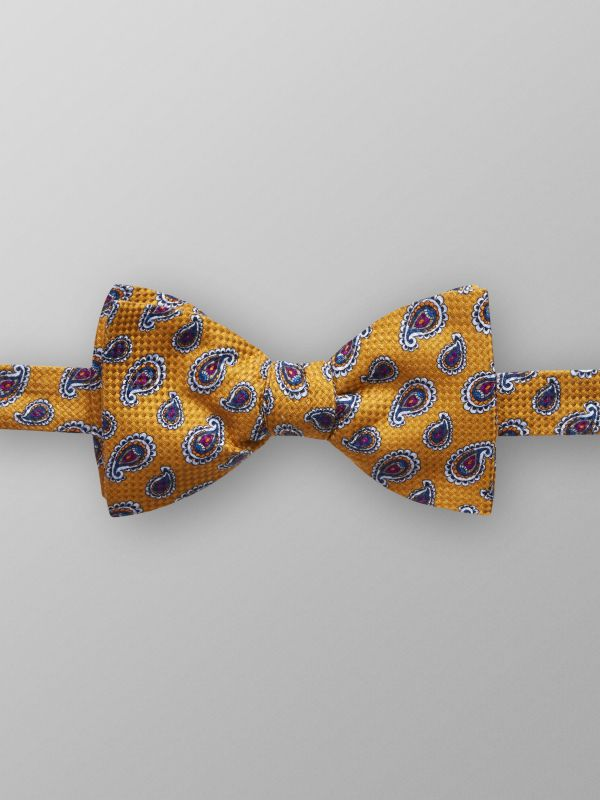 Orange Paisley Print Bow Tie