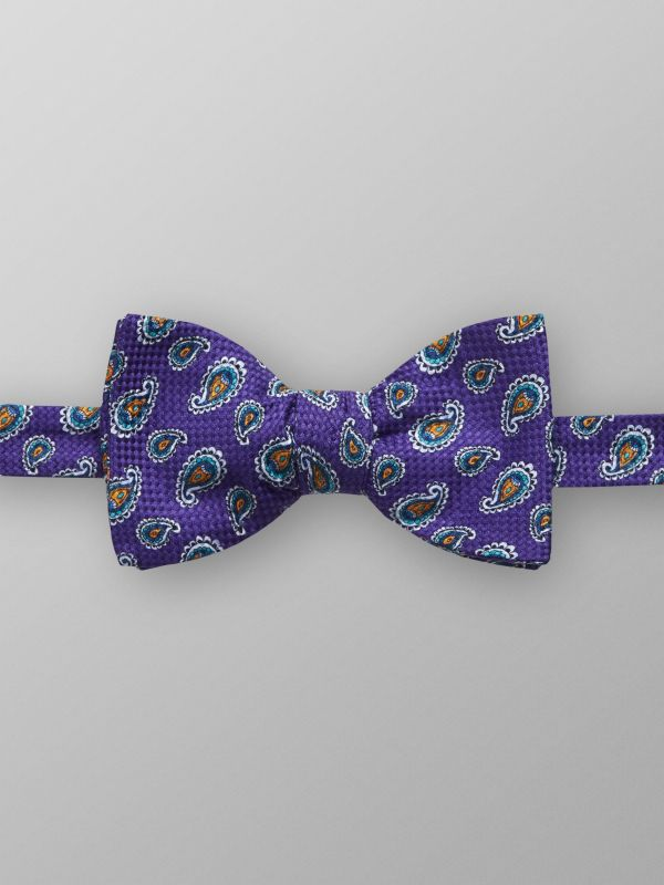 Purple Paisley Print Bow Tie