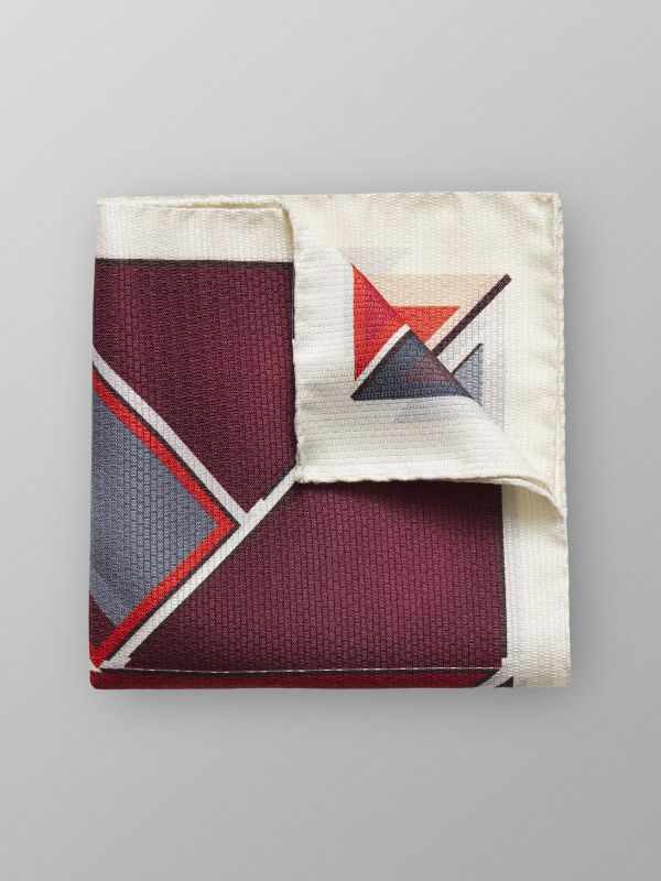 Red Geometric Print Pocket Square
