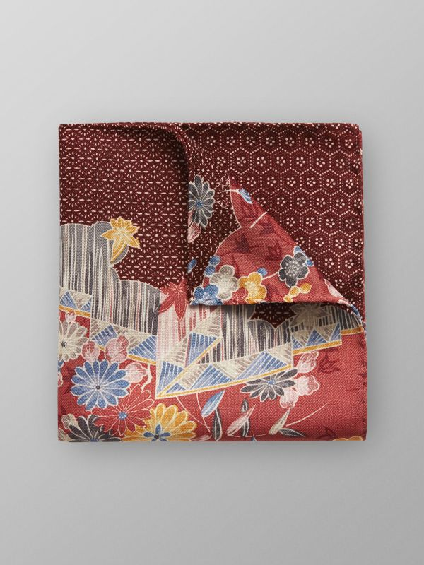 Red Floral Print Pocket Square