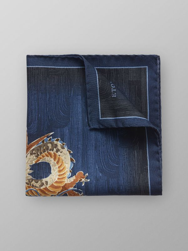 Navy Japanese Dragon Print Pocket Square