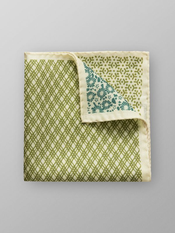 Beige & Green Wool Pocket Square