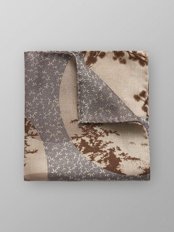 Grey Kyoto Motif Pocket Square