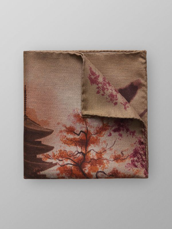 Kyoto Temple Print Pocket Square