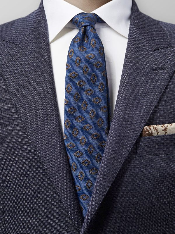 Blue Medallion Silk & Wool Tie