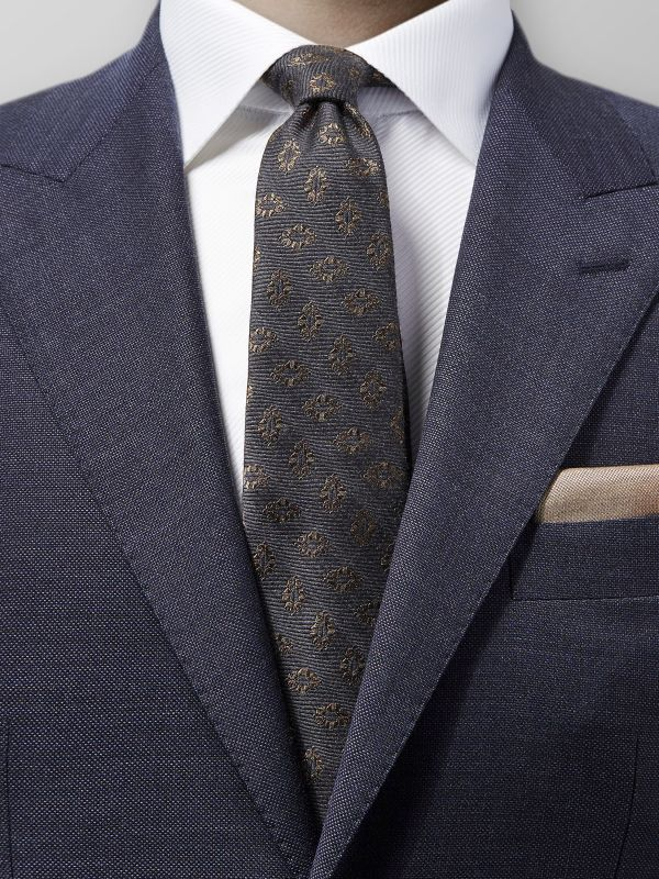 Grey Medallion Silk & Wool Tie