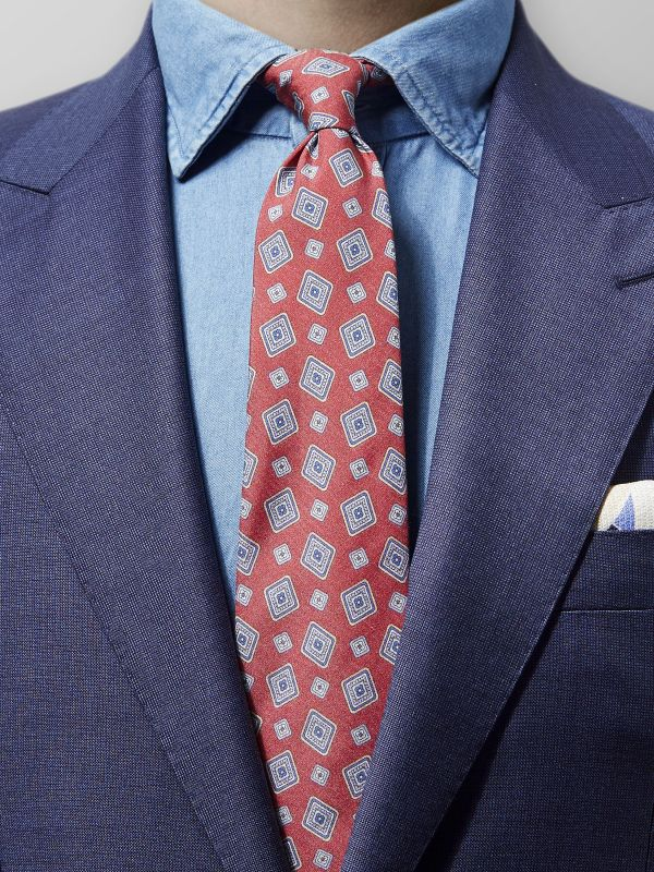 Red Square Fuji Silk Tie